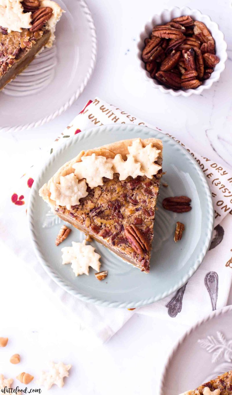 Butterscotch Pecan Pie without corn syrup on a green plate