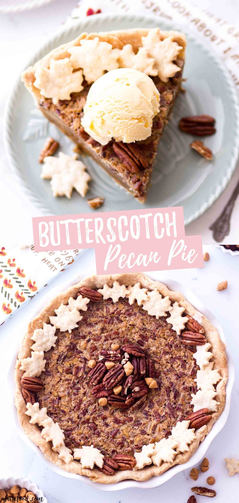 This homemade Butterscotch Pecan Pie is made without corn syrup