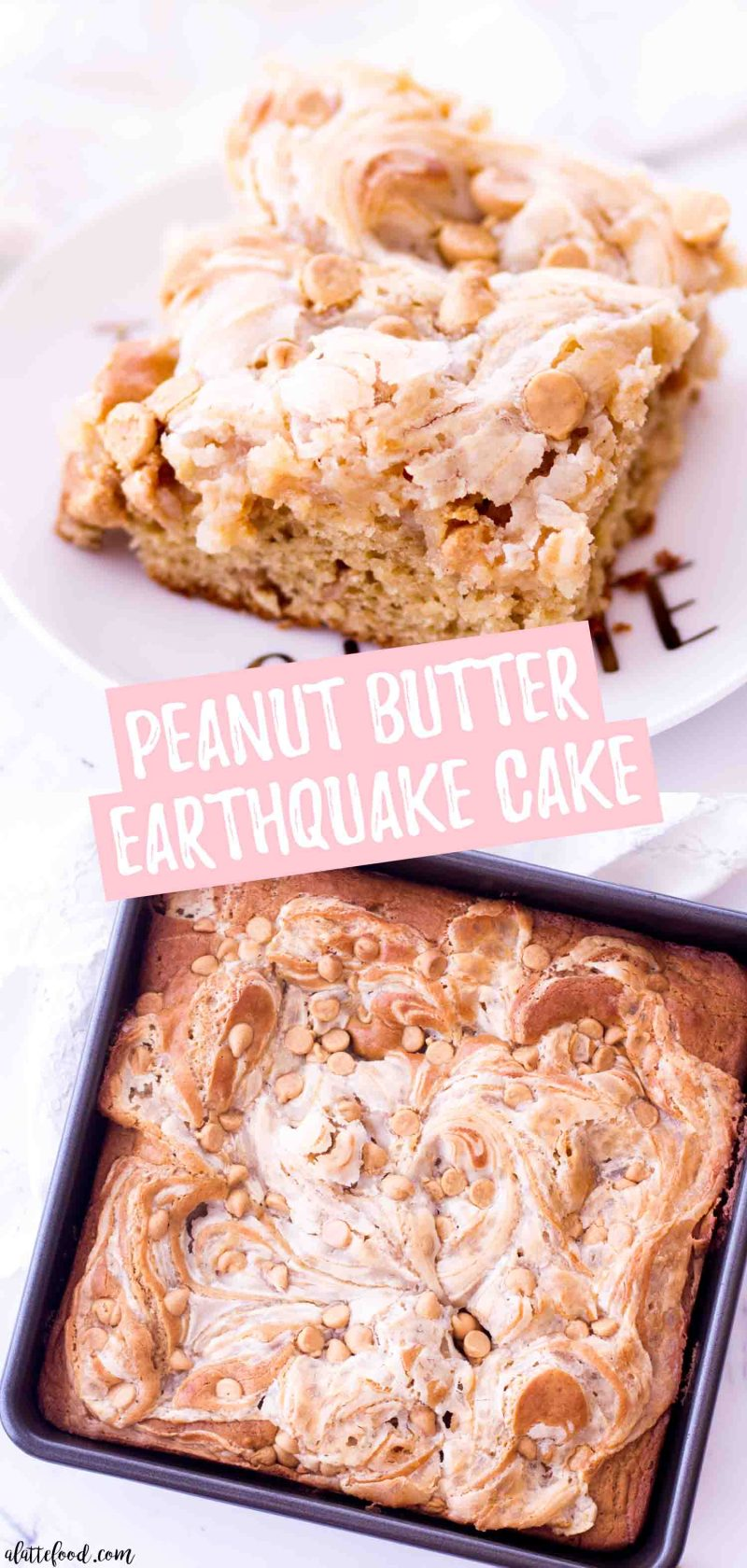 Rich peanut butter earthquake cake with swirls of cream cheese filling and peanut butter chips