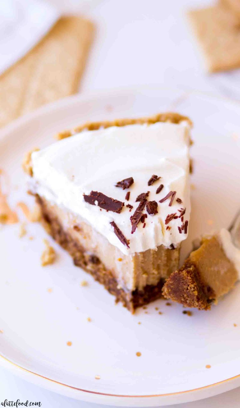 slice of peanut butter custard pie with a bite on a fork