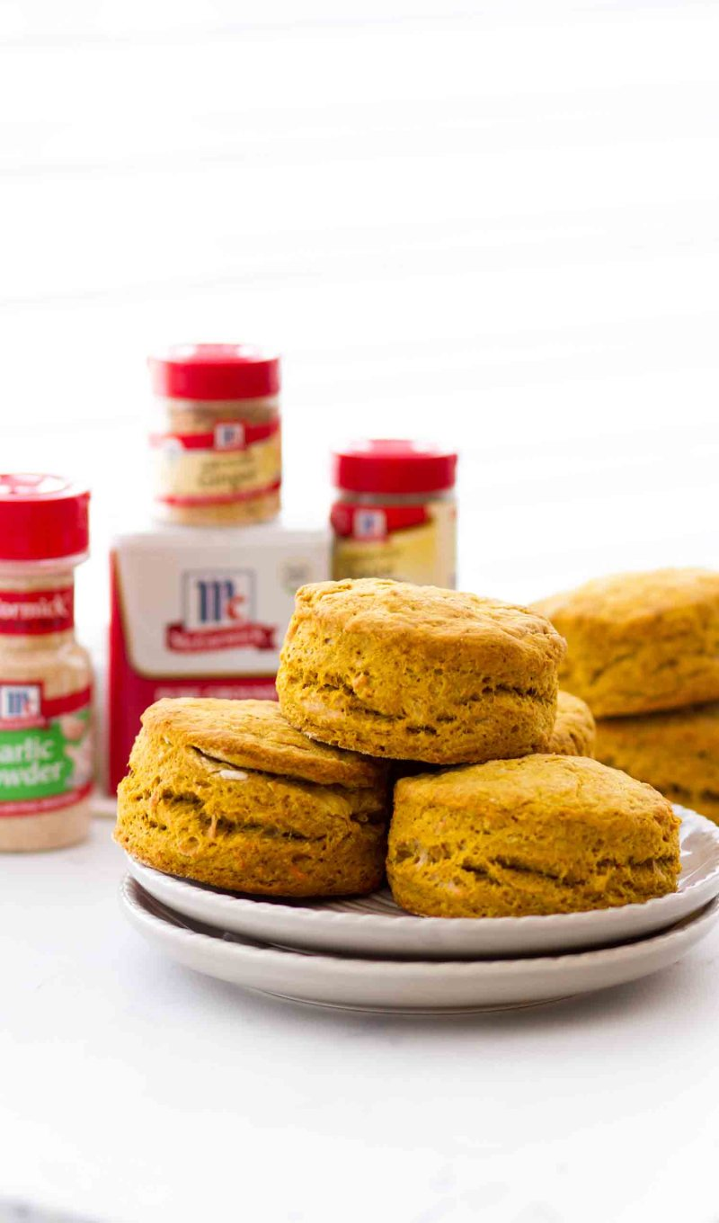 Easy Pumpkin Parmesan Biscuits on a gray plate