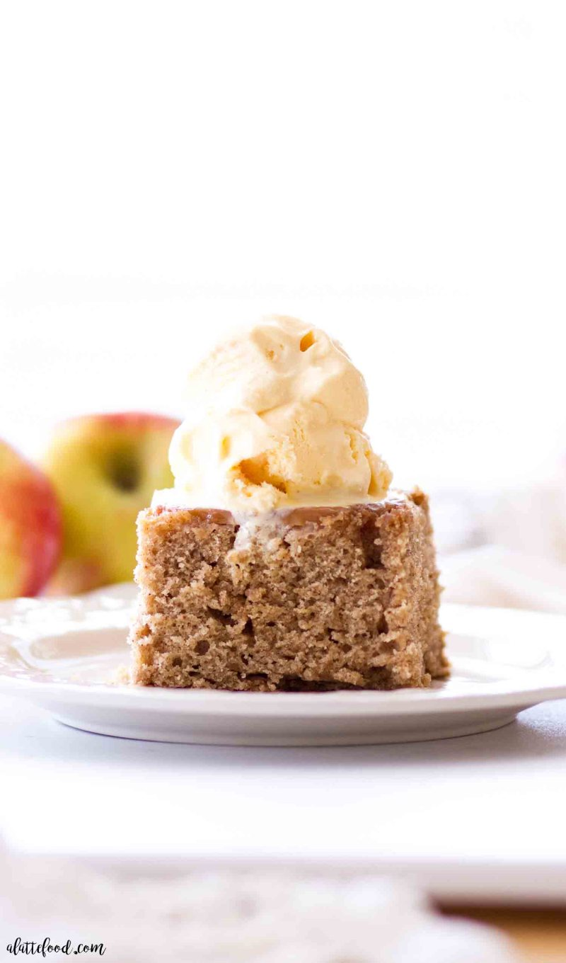 caramel apple upside down cake slice with ice cream