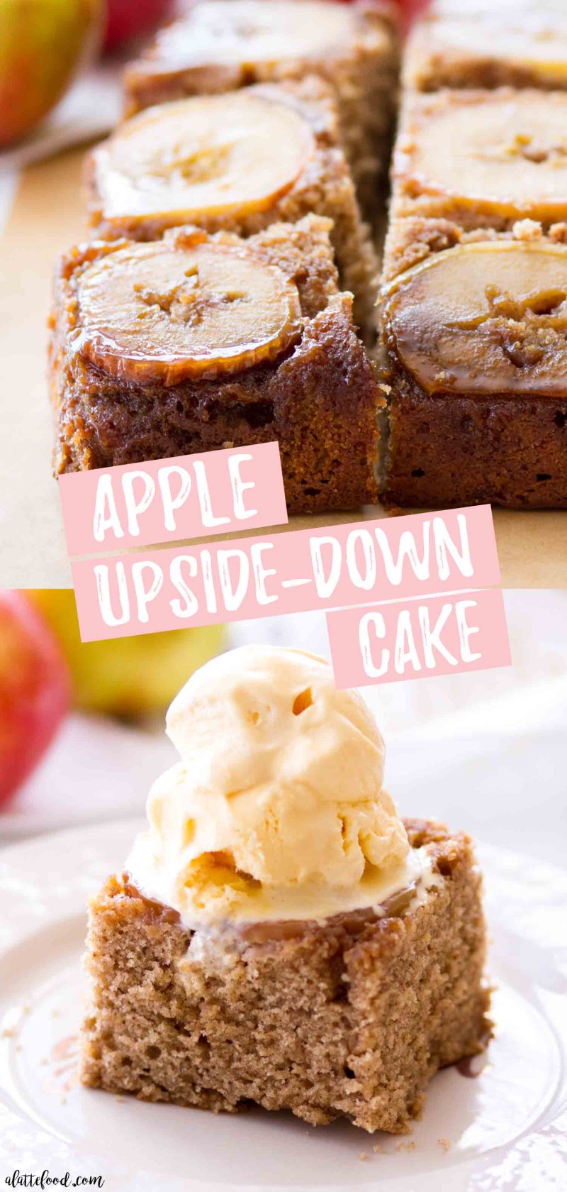 apple upside-down cake photo collage with text