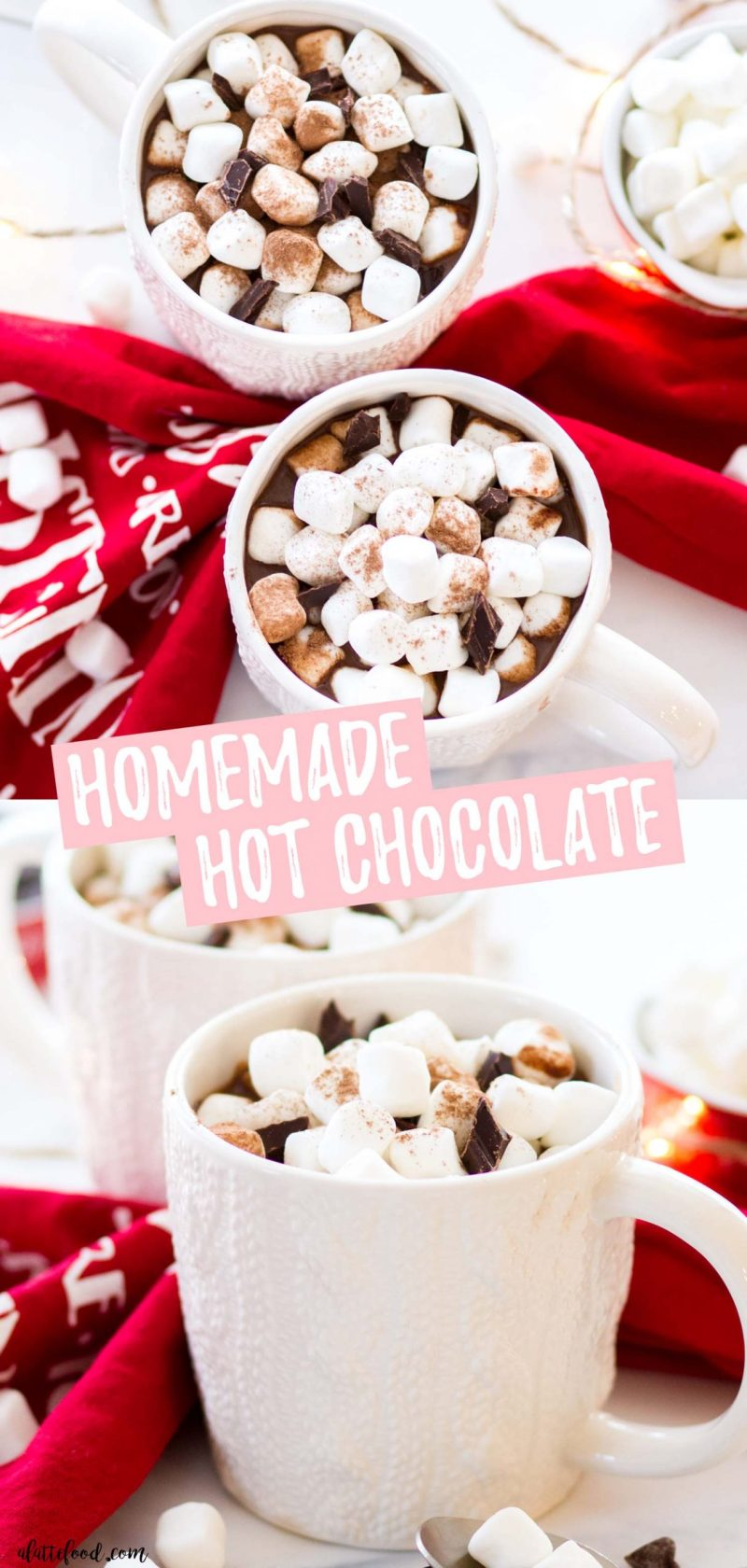 easy homemade hot chocolate collage with text