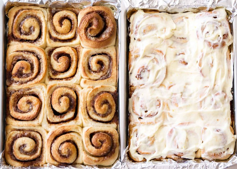 baked and frosted cinnamon rolls