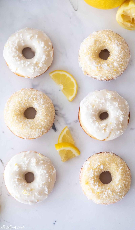 lemon baked donuts on marble board