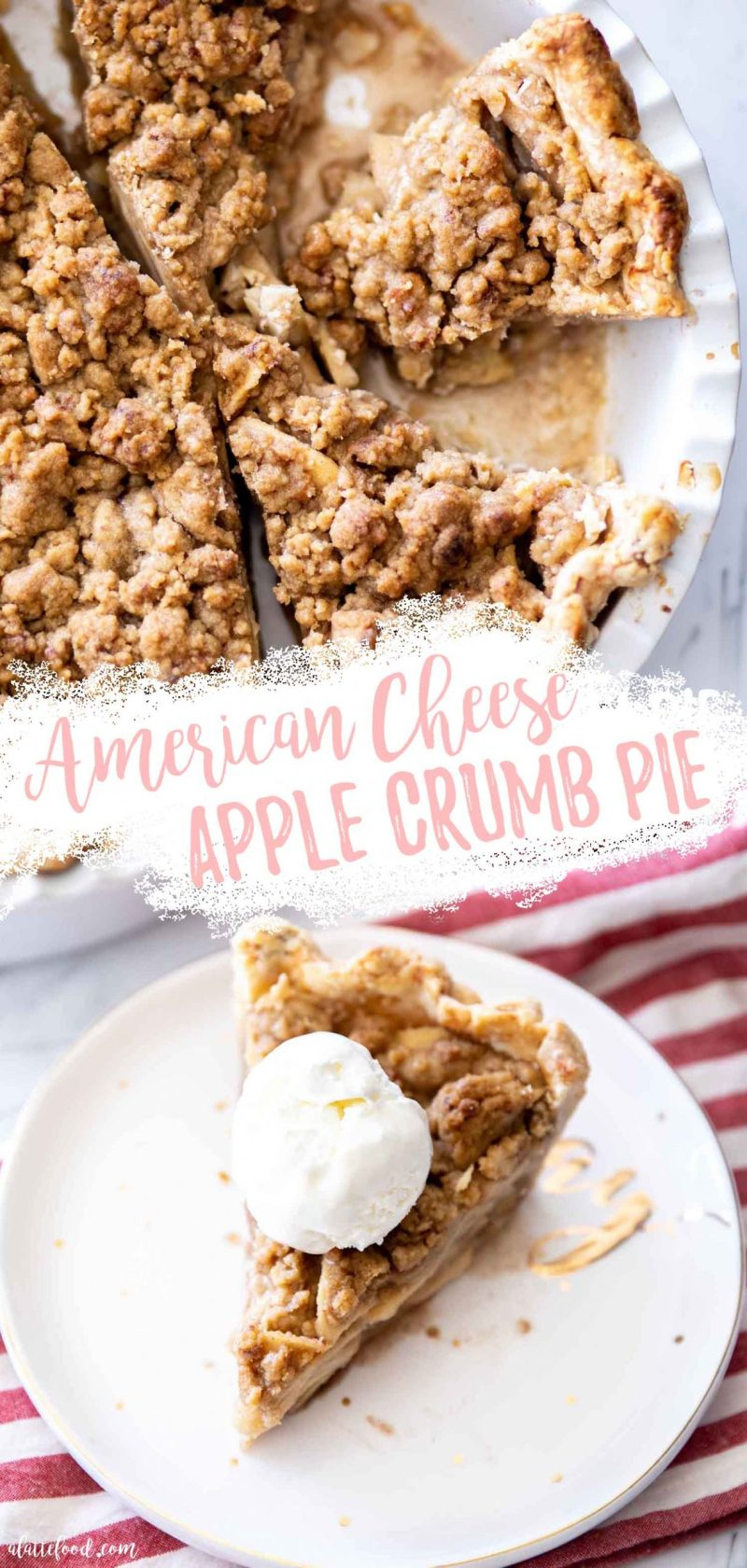 apple pie with crumb topping and american cheese collage
