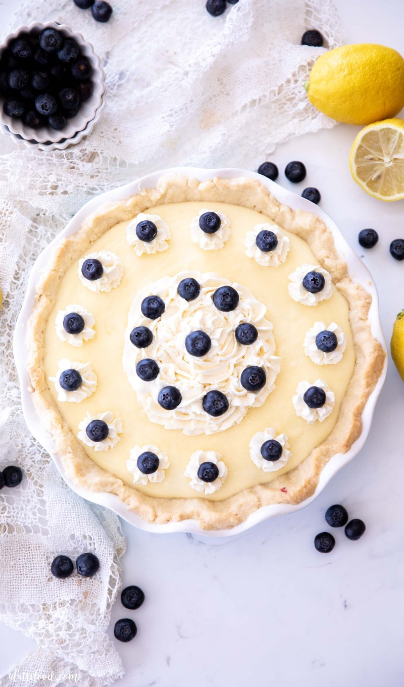 whole lemon blueberry pie in shortbread crust (overhead)
