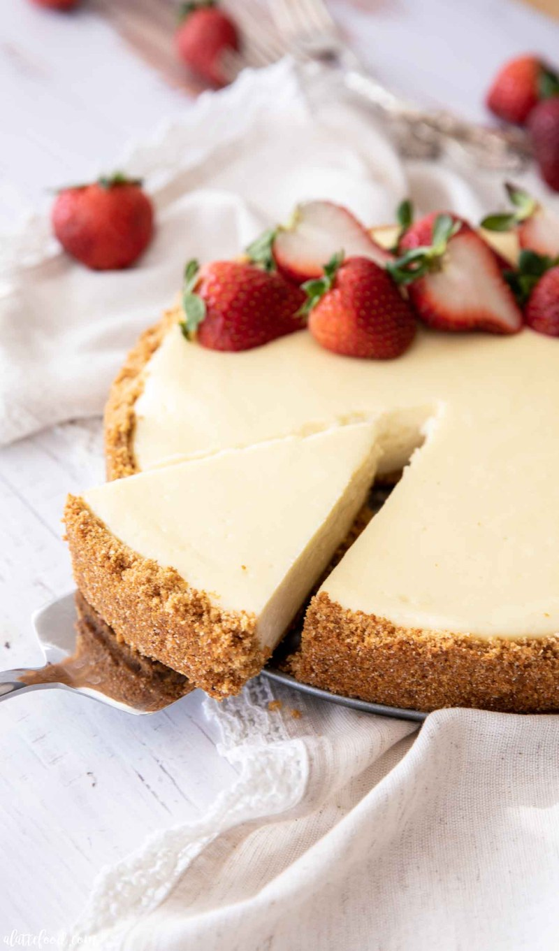 slice of cheesecake with strawberries