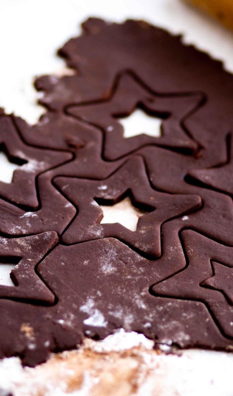 chocolate cutout dough on a floured surface