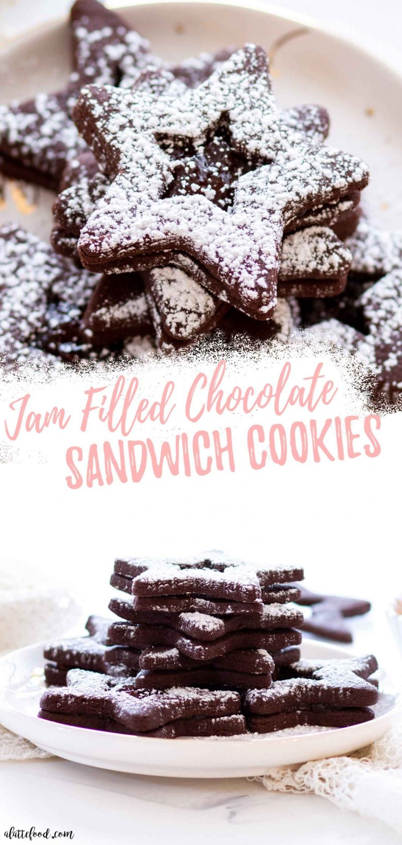 Strawberry Jam Chocolate Sandwich Cookies on a marble board photo collage