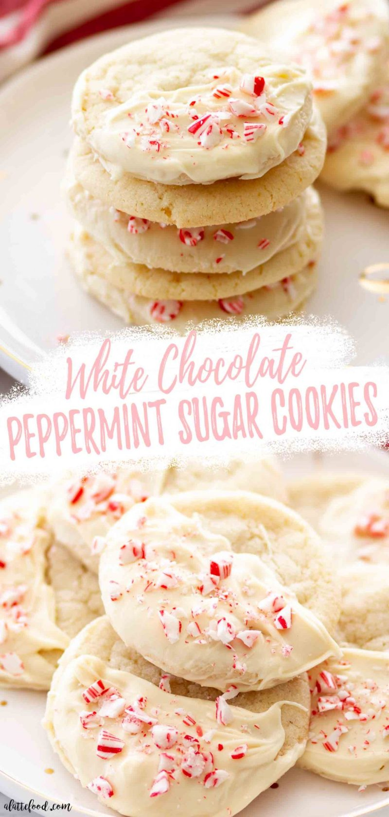 dipped white chocolate peppermint sugar cookies on a white plate photo collage