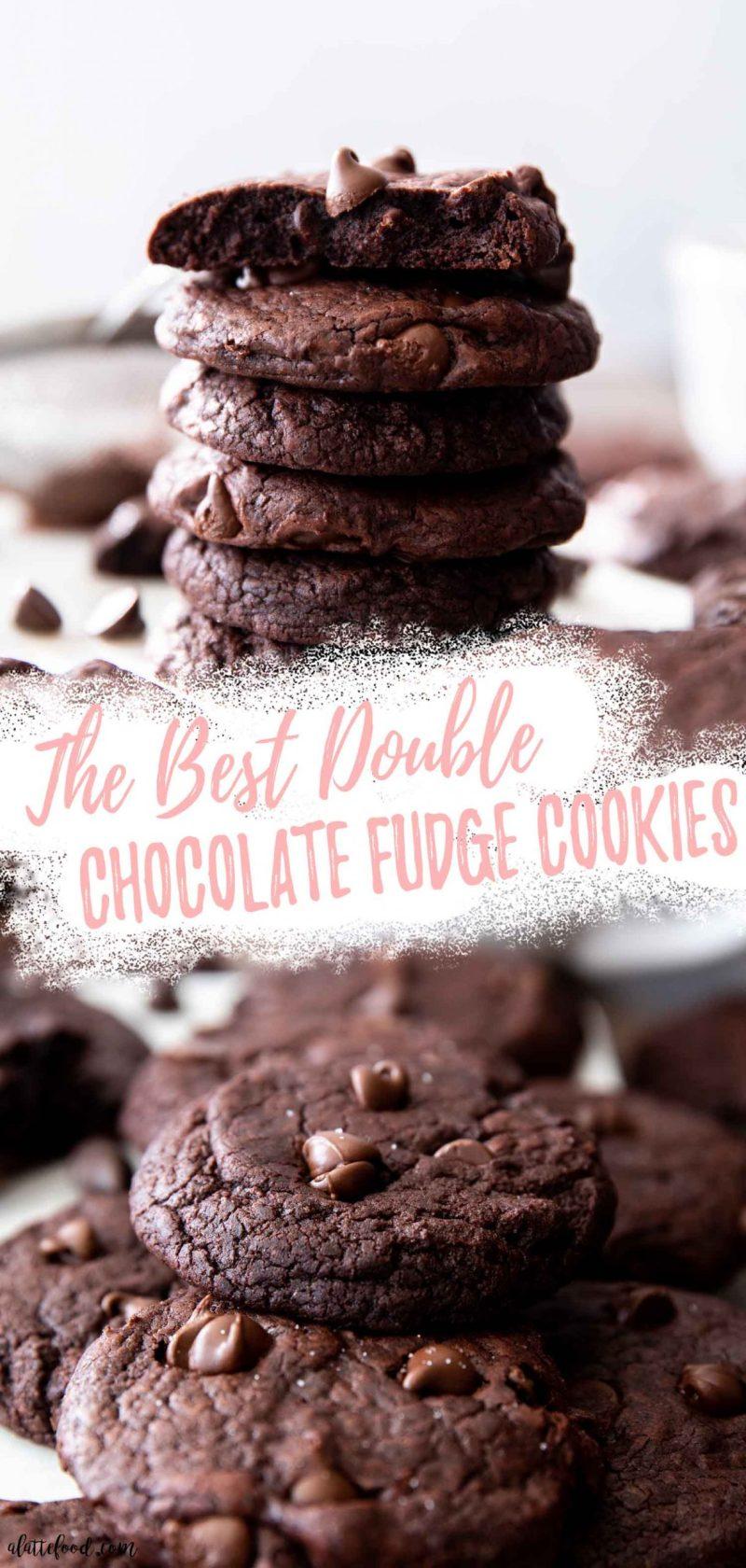 double chocolate fudge cookie recipe photo collage