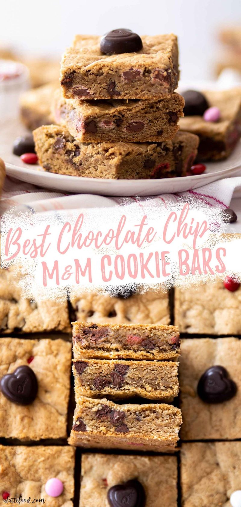 chocolate cookie bars with M&Ms collage