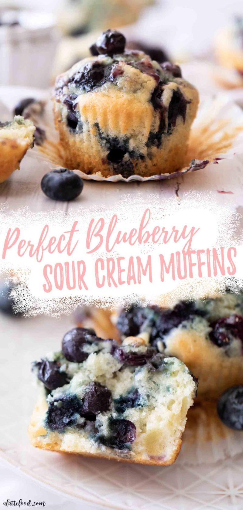 homemade sour cream blueberry muffins collage with a blueberry muffin cut in half sitting on a white plate