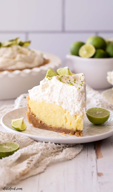 deep dish key lime pie slice on a white plate