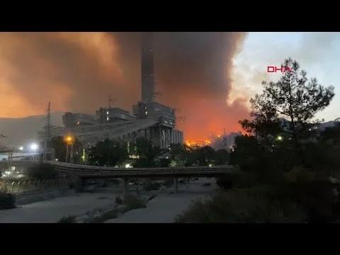 Herkes Seferber Oldu! Alevlerin Sıçradığı Milas'taki Termik Santralden Yeni Görüntüler