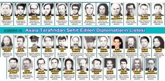 Asala tarafindan sehit edilen oldurulen diplomatlarimiz
