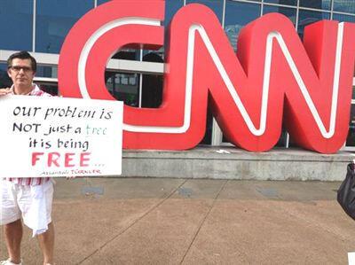 Atlanta'daki CNN önünden Taksim Gezi Parkı'na destek