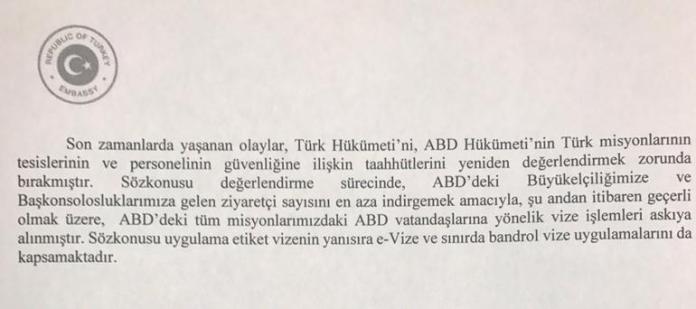 Turkiye ABD Vize Basvurularini Askiya Aldi