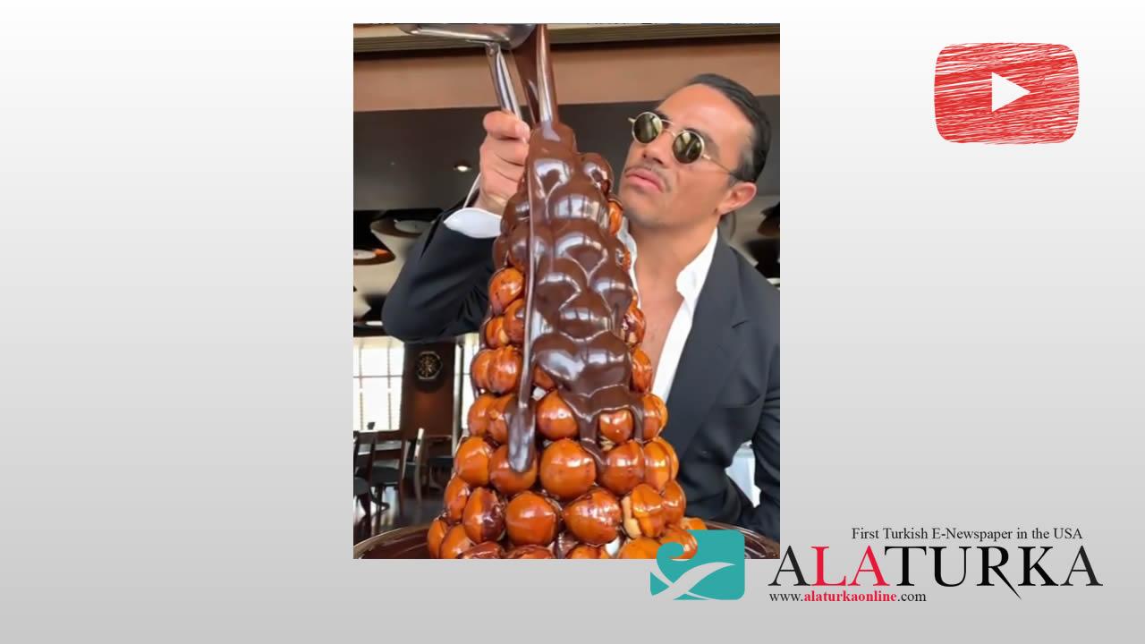 Saltbae Nusret Gökçe bu kez etle değil çikolatayla şov yaptı