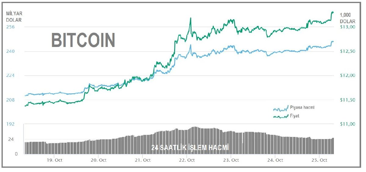 Bitcoin 13 bin doların üzerinde
