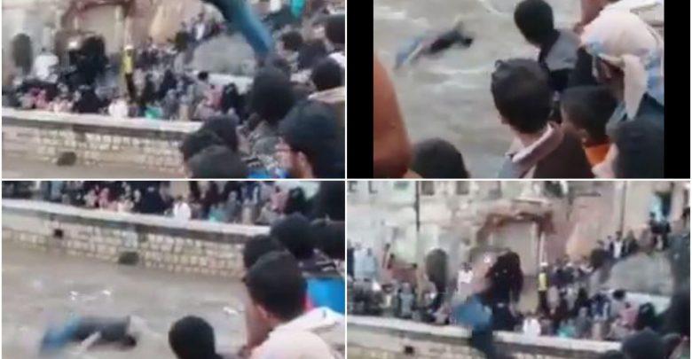 Photo of مشهد يحبس الانفاس .. شاهد بالفيديو شباب يمنيون يتقافزون بشكل جنوني الى وسط سيل جرار