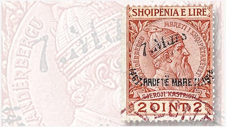 Un francobollo di Skanderbeg 2-qintar per commemorare l'arrivo del principe Guglielmo di Wied in Albania