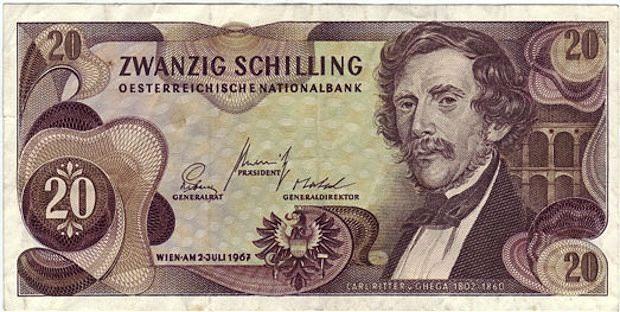 banconota commemorativa da 20 scellini raffigurante da un lato il ritratto di Ghega e dall'altro un ponte della ferrovia del Semmering