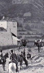 "Jäckh043: ""An Albanian kulla [fortified stone tower] surrounded by Turkish cavalry"" (Photo: Ernst Jäckh, ca. 1910)."