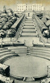 GM140: Sketch of proposed gardens for the official residence of the Italian Viceroy in Tirana (Photo: Giuseppe Massani, 1940).
