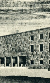 GM143: Sketch of the building of the Dopolavoro Albanese, a fascist leisure and sports organisation. It was constructed and now houses the Academy of Arts in Tirana (Photo: Giuseppe Massani, 1940).