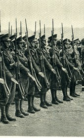 GM144: Italian Foreign Minister, Count Galeazzo Ciano, reviewing troops in Albania in May 1940
