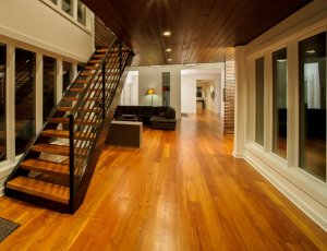 Solid wood flooring open plan