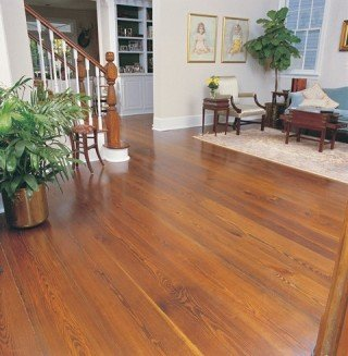 reclaimed heart pine wide plank flooring