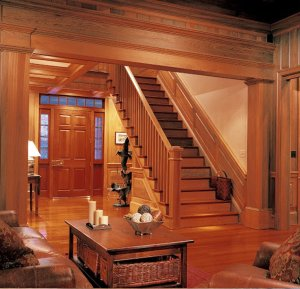 Sinker Cypress Stairs, Custom Door, Paneling, Cased Opening