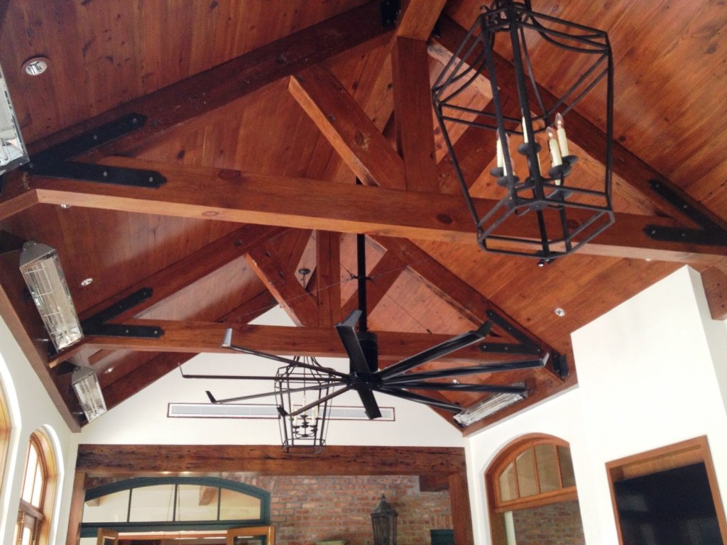 pine beams and wood ceiling dallas home