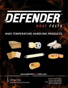 high temperature felts for aluminum extruders and material handling