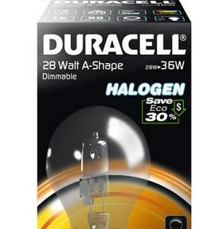 Lampadina Alogena goccia E27 W28 Duracell resa 36W