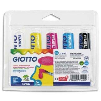 Giotto Confezione 5 Tubetti Tempera Extra Fine 21 ml colori Primari