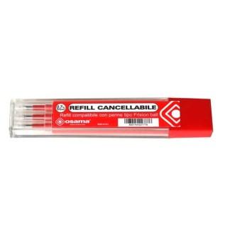 Osama Refill Rosso Compatibile penne tipo Frixion Ball - Tratto 0,7mm - Confezione da 3 Pezzi - (Rosso)