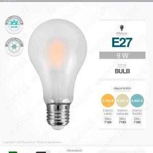 Lampadina LED E27 1100lm 9W Filament A67 A++ Opaca