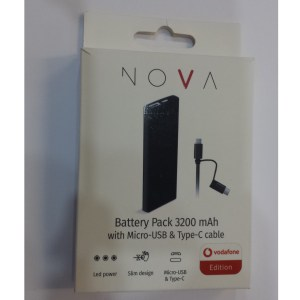 Power Bank 3200 mAh con cavo Micro-Usb e Type-C