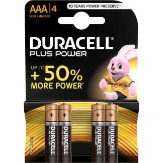 Batterie Mini Stilo AAA Alcaline LR03 Duracell Plus Power 4pz