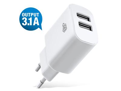 Caricatore da rete Doppio Usb Travel charger Totale 3.1A Universale