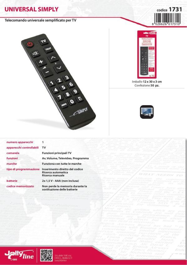 Telecomando Universale Semplificato funziona con tutte le marche