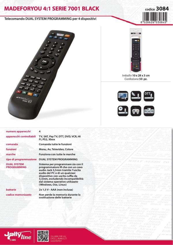 Telecomando Universale 4 in 1 Programmabile TV - DVD - Decoder - AUX