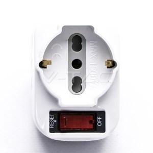 Adattatore Rotante 10A multiplo 2 prese 10/16A + 1 presa bipasso/Schuko e Protezione da sovraccarico