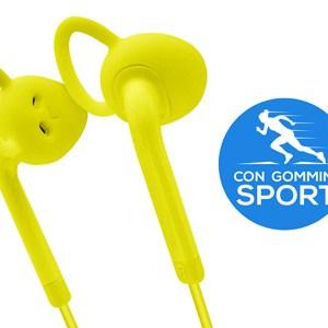 Auricolari Stereo Extra con tasto risposta e microfono - Gommini Sport Lime