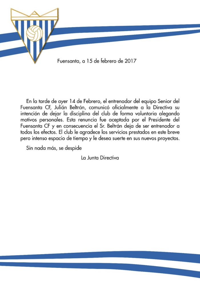 Comunicado oficial   Fuensanta CF